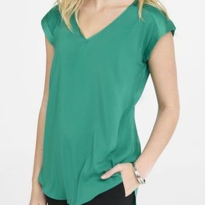 Express silky green top blouse size medium